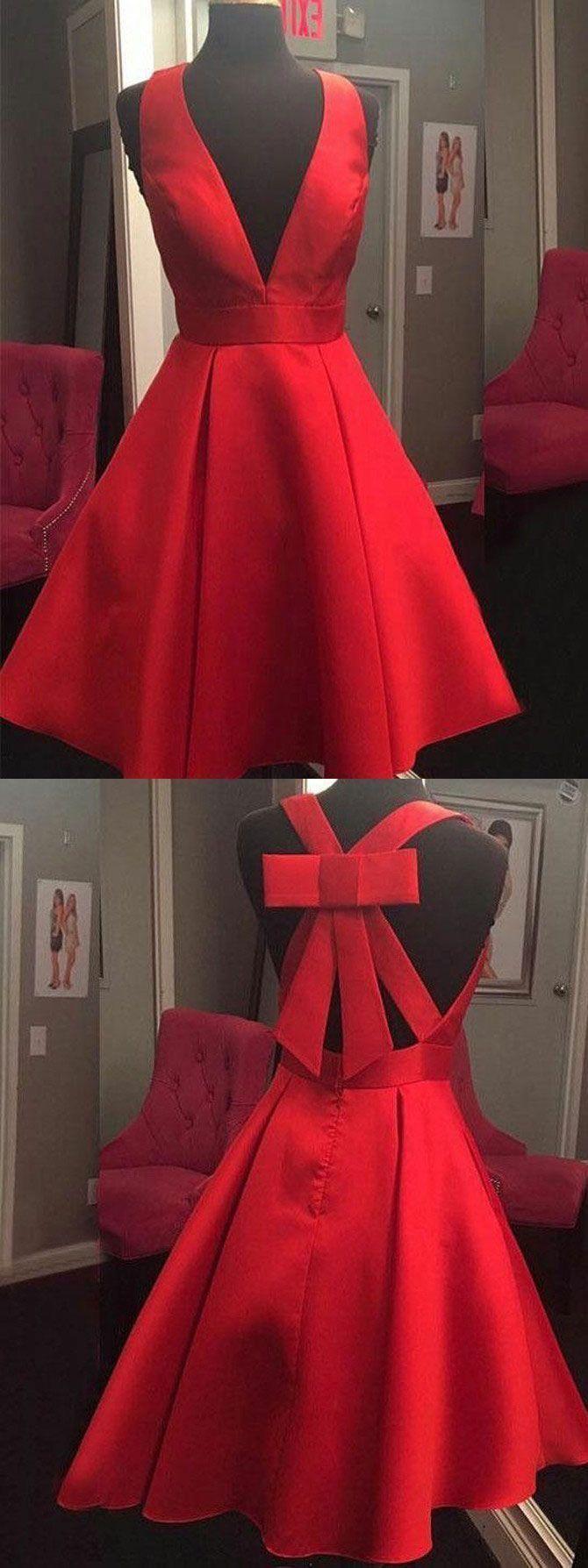 Red Satin Short Homecoming Dress, Prom Dress H3397