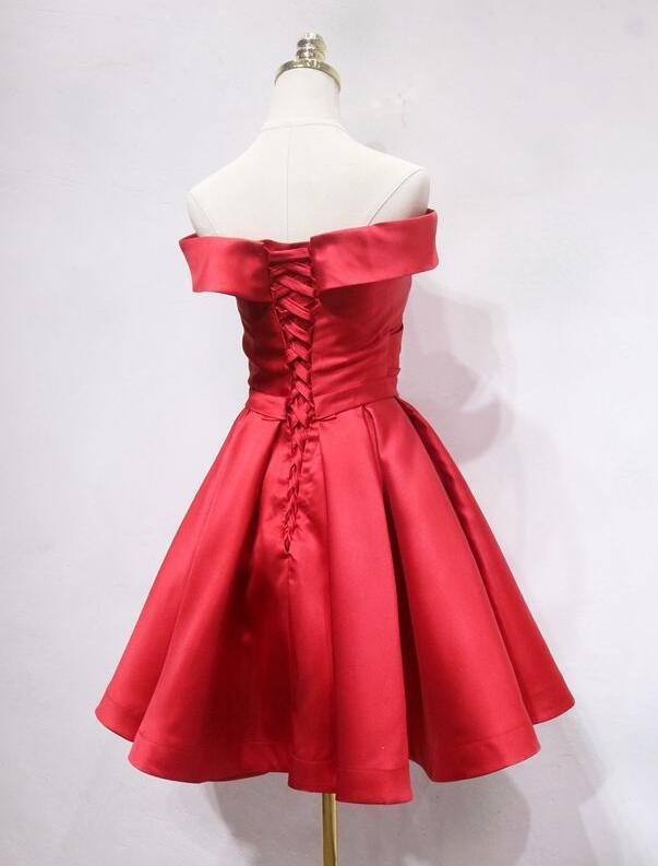 Red Satin Short Simple Off Shoulder Homecoming Dress, Red Prom Dress