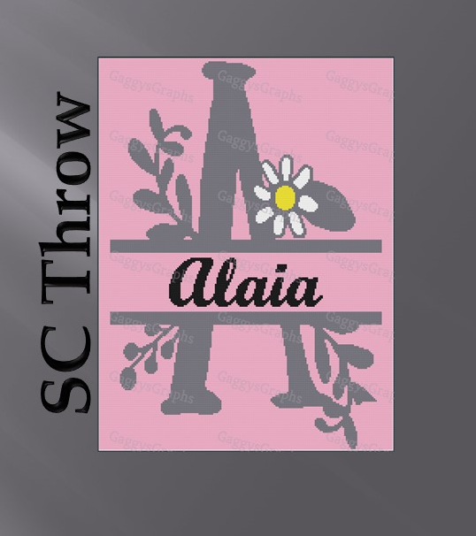 Split Monogram --A is for Alaia -- Throw SC, Graph + Color coded block written