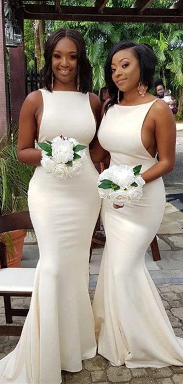 Sexy Simple Mermaid Bridesmaid Dress, Formal Wedding Guest Dress H3417