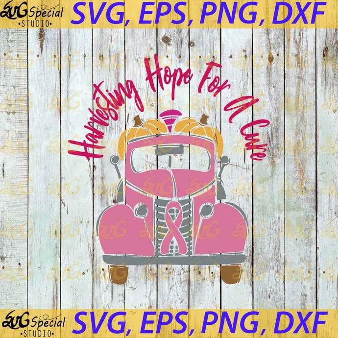 Vintage Truck, Pink Ribbon, Breast Cancer, Cancer Awareness, Cancer Svg,