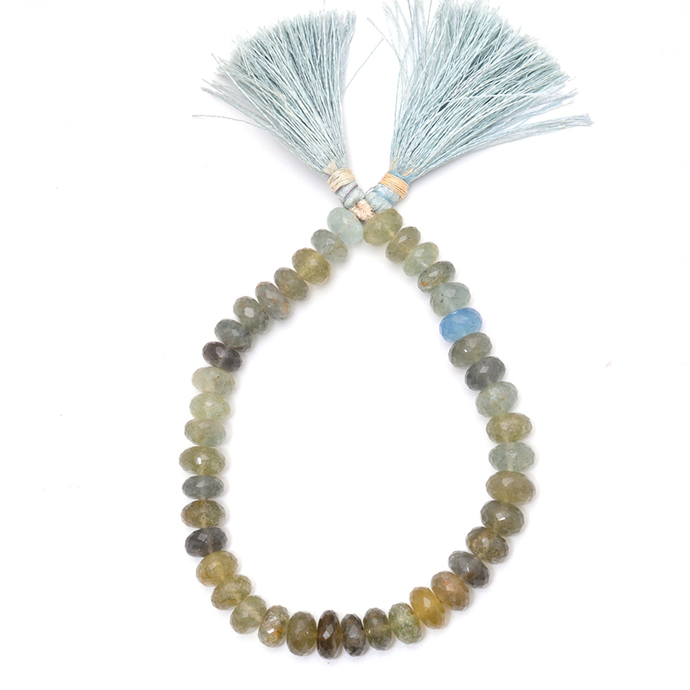 Moss Aquamarine Roundel Faceted beads ,Moss Aquamarine Faceted Beads,Aquamarine