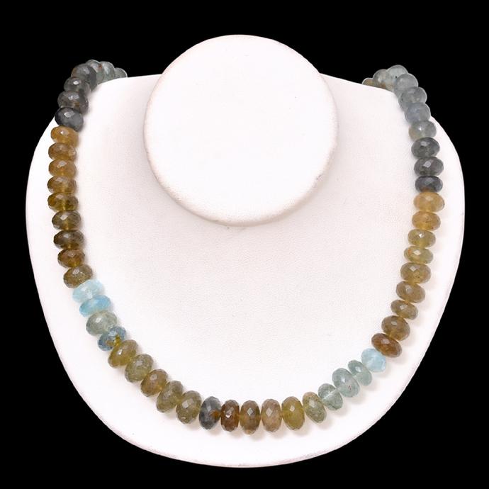 Moss Aquamarine Roundel Faceted Semi Precious beads Necklace,Moss Aquamarine