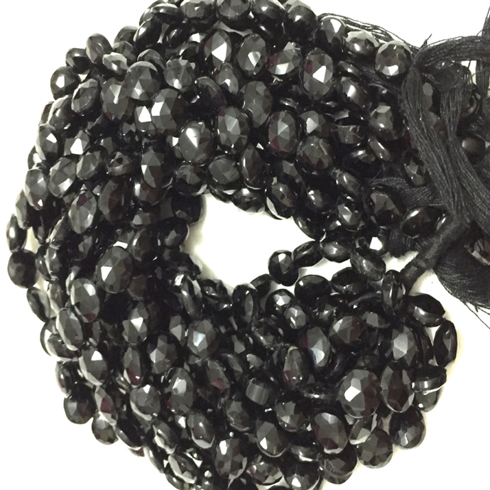 Black Spinel Coin Faceted  Semi Precious Beads,Black Spinel Coin Beads,Spinel