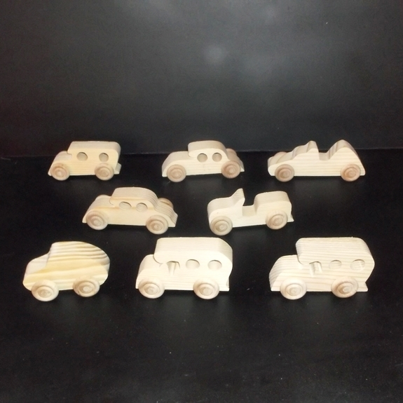 8 Handcrafted Wood Toy Cars, Race Car  OT- 18 unfinished or finished