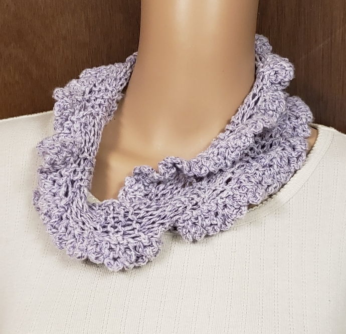 Lavender Cowl Hand Knit