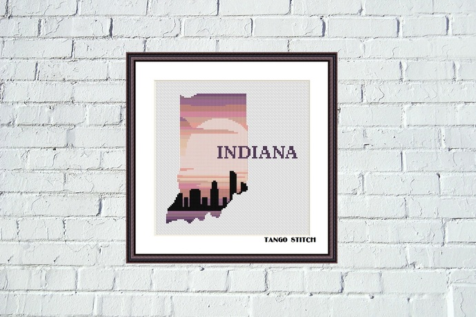 Indiana state map sunrise skyline silhouette cross stitch pattern