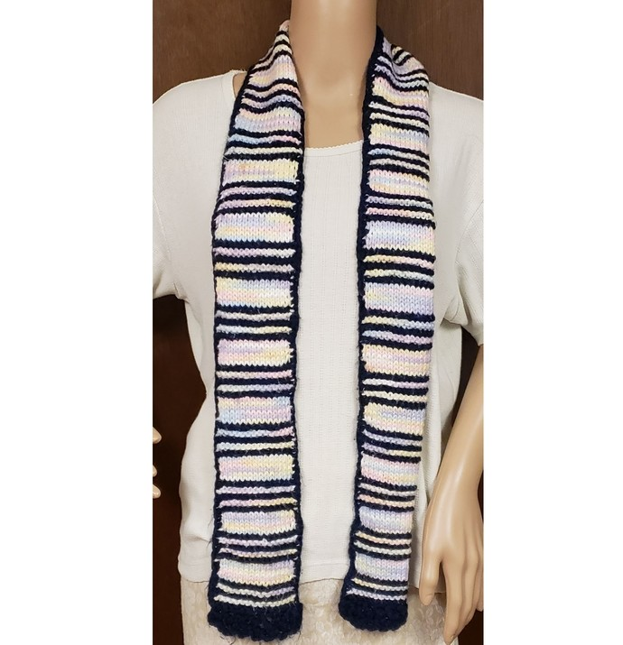 Navy and Pastels Hand Knit Scarf