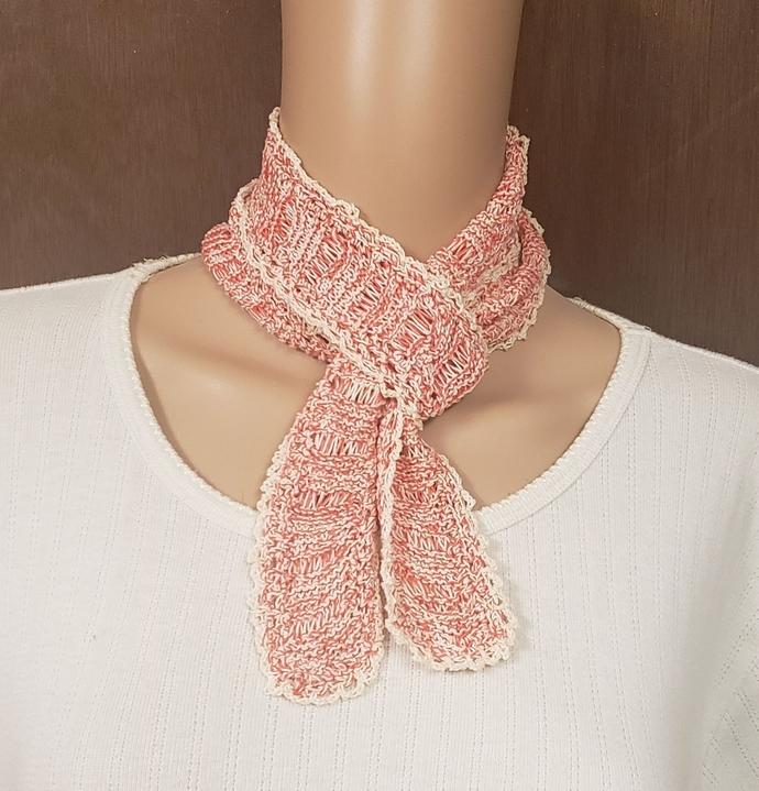 Cotton Hand Knit Scarf Red & Cream