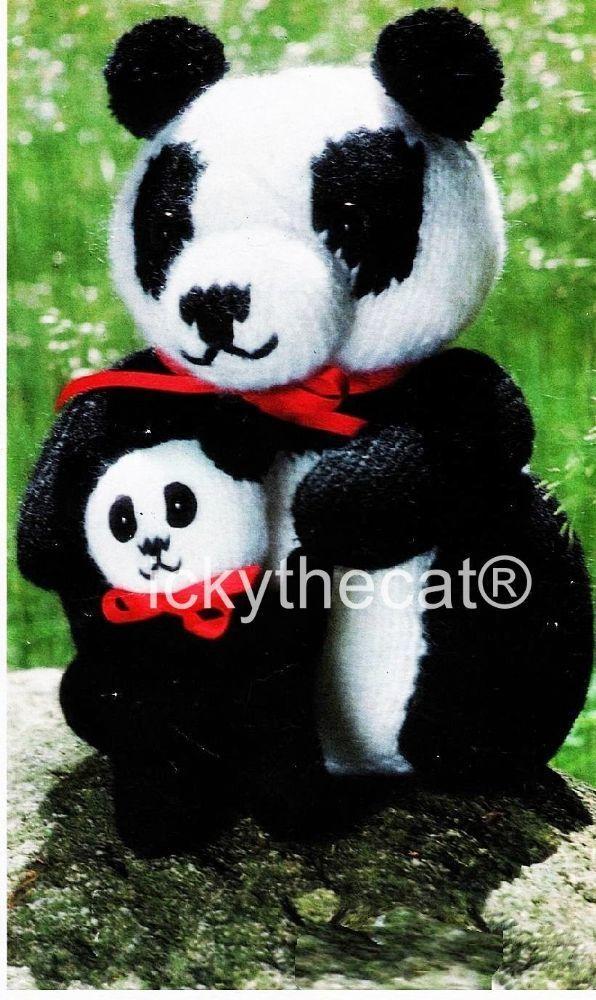PDF Digital Download Vintage Knitting Pattern Panda 26 cm and Baby Bear Stuffed