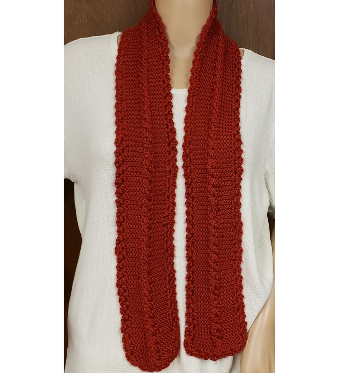 Hand Knit Cabled Cranberry Fashion Scarf