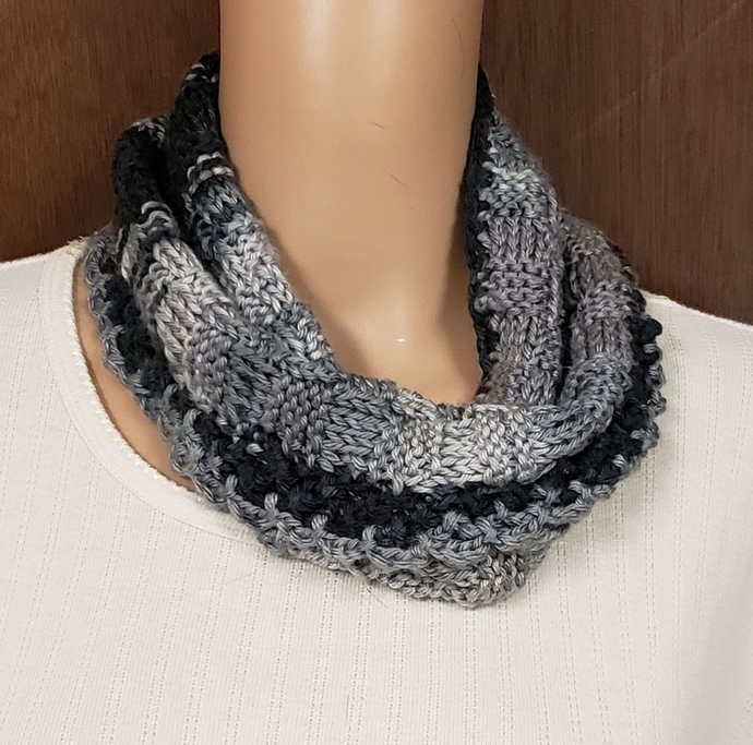 Hand Knit Cowl Scarf Black and Gray