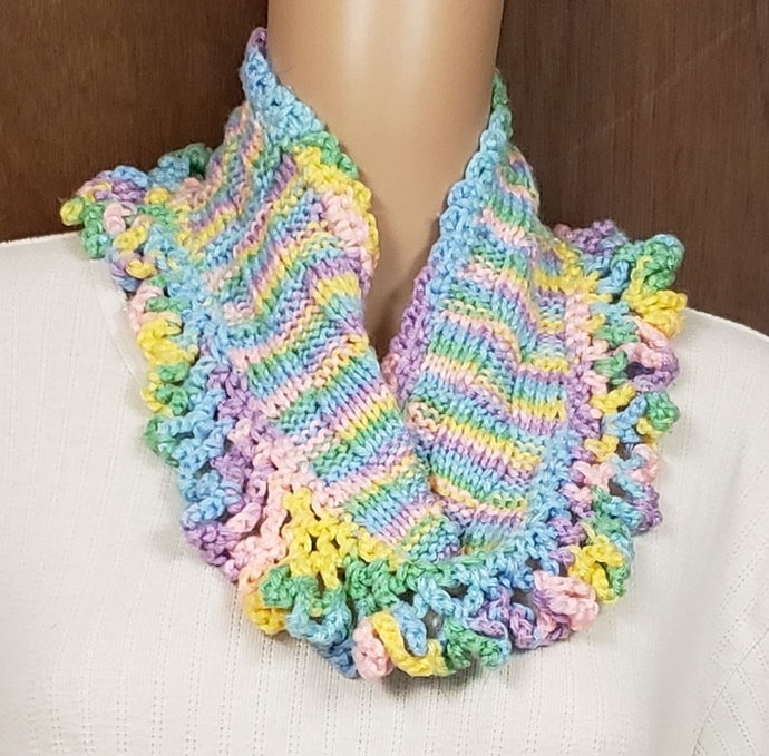 Hand Knit Cowl Scarf Bright Pastels