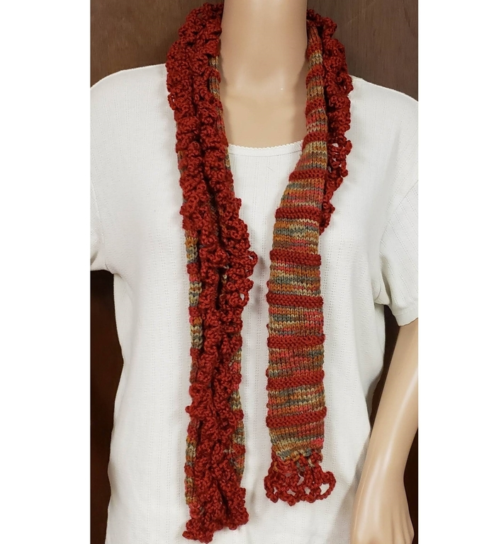 Hand Knit Ruffled Cranberry Fashion Scarf