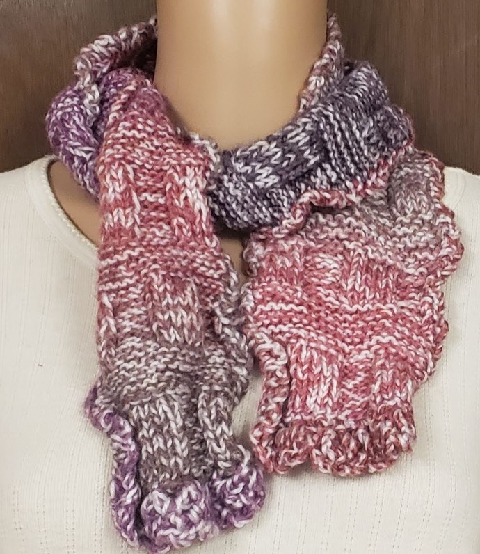 Scarf Hand Knit Rose Lavender Purple