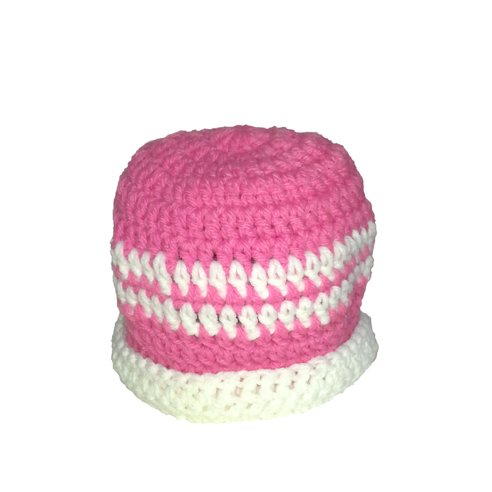 Pink White Hat and Booties set