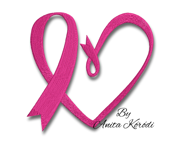 Breast cancer ribbon embroidery machine design heart pes hoop file