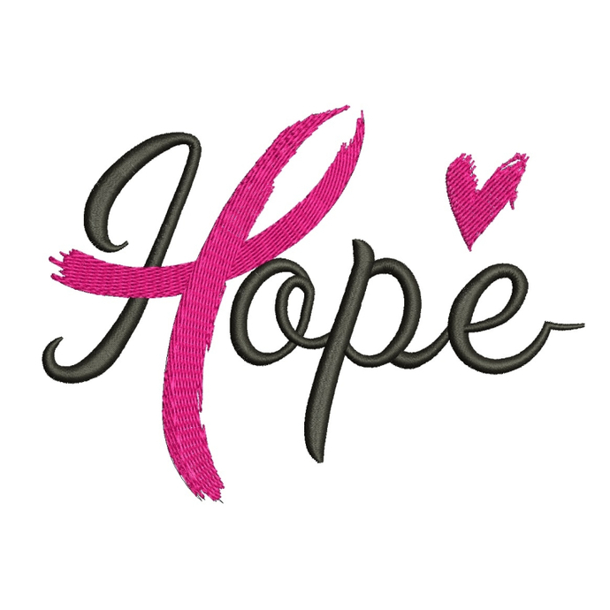 Hope Breast Cancer ribbon embroidery machine design instant download digital