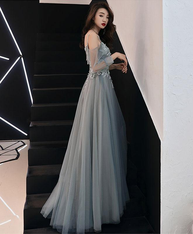 Elegant Light Grey Straps Long Prom Dress, A-line Grey Floor Length Formal Dress