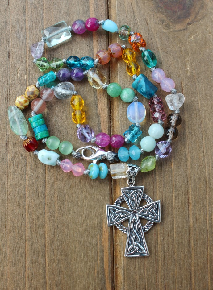 Rainbow Gemstones, Beaded Necklace, with Celtic Cross Pendant, Jewelry gifts for