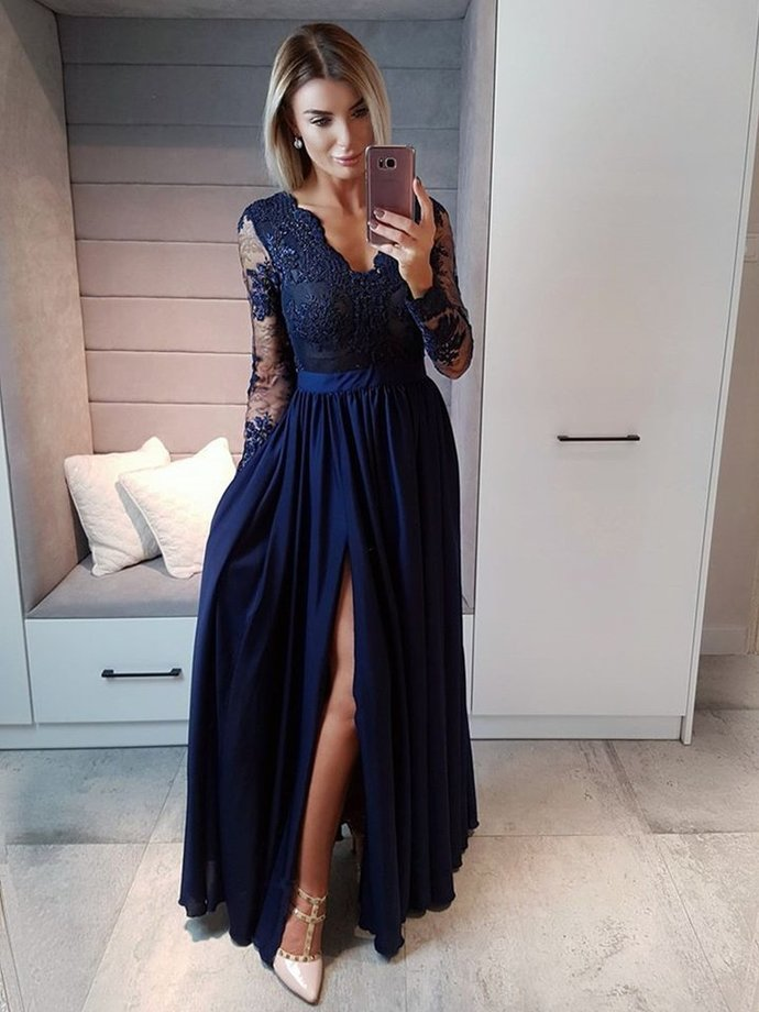 BeautifuL Navy Blue Long Beaded Lace Prom Dresses with High Slit, Long Sleeve