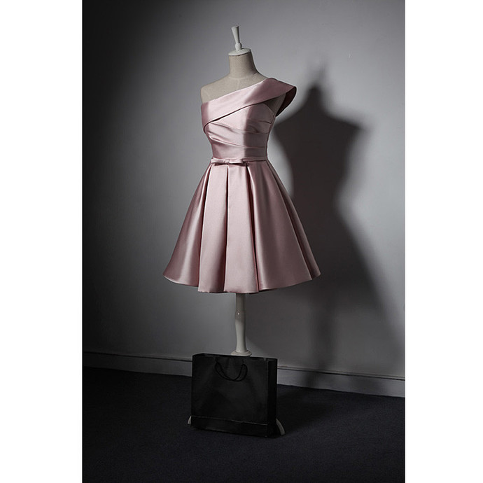 Cute Pink One Shoulder Satin Knee Length Party Dress, Pink Homecoming Dress