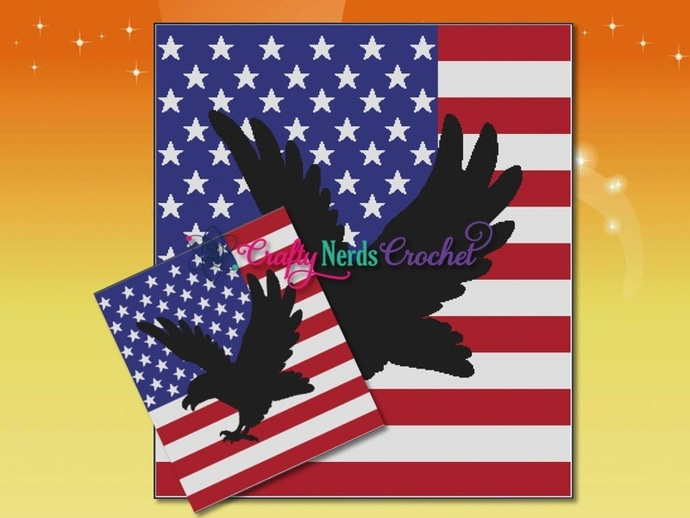 Eagle Silhouette On Flag Pattern Graph With Single Crochet Written