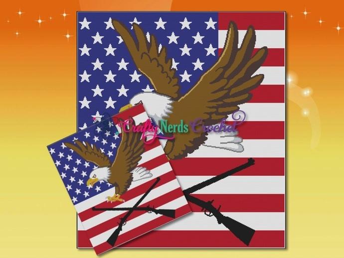 Eagle Flag Guns 1 Pattern Graph With Single Crochet Written
