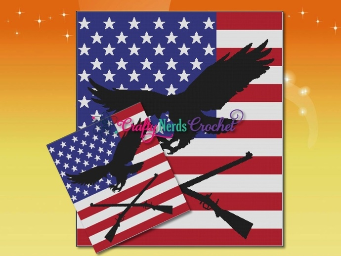 Flag Eagle Silhouette, Guns  Pattern Graph With Single Crochet Written