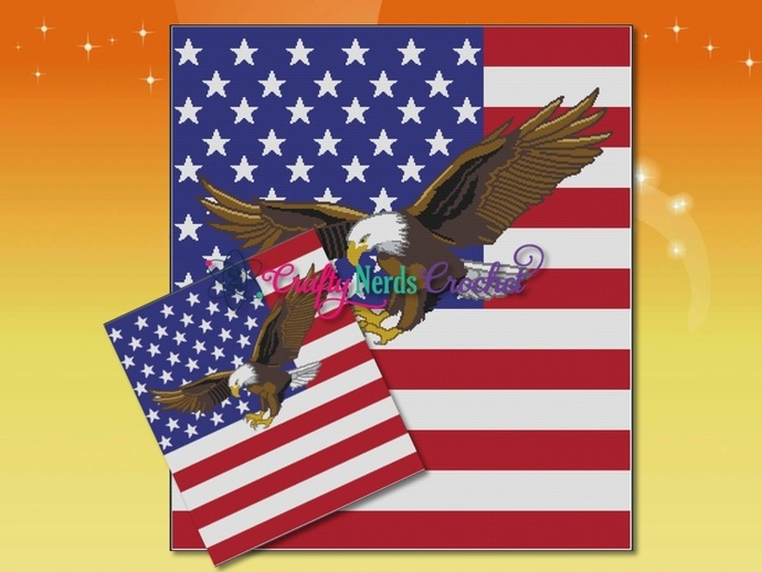 Flag With Eagle 2 Pattern Graph With Single Crochet Written