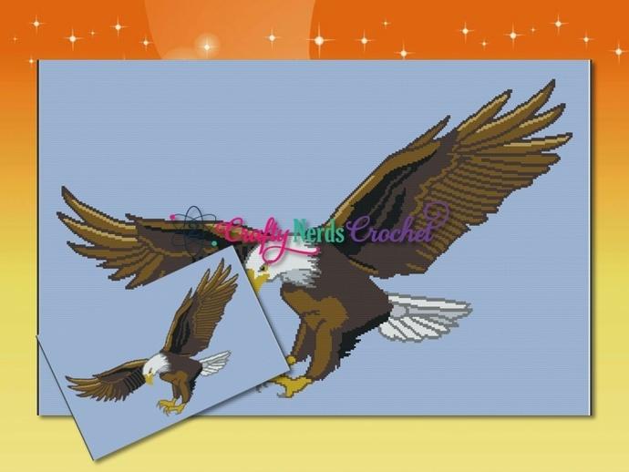 Flying Eagle 2 Pattern Graph With Single Crochet Written