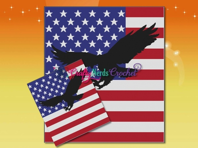 Flag With Eagle Silhouette 2 Pattern Graph With Single Crochet Written