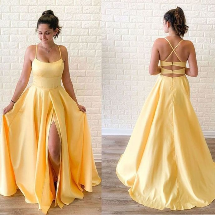 Yellow Prom Dress,A-Line Prom Gown,Spaghetti Straps Evening Dress,Satin Prom