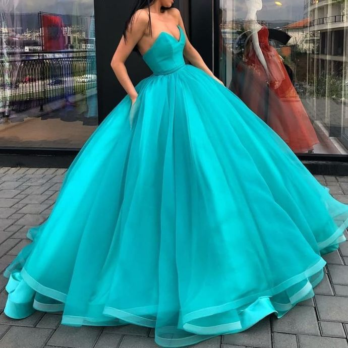 Custom Prom Dress,A-Line Prom Gown,Sweetheart Evening Dress,Tulle Prom Gown 0244