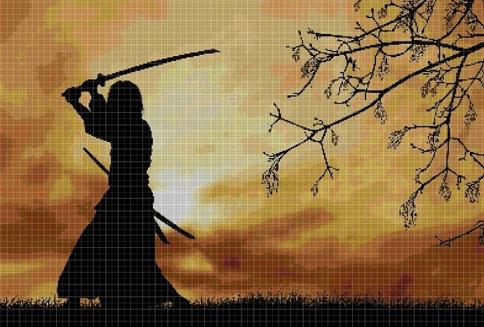Young Samurai cross stitch pattern in pdf DMC