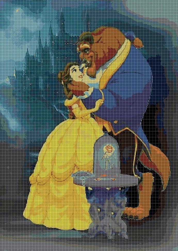 Beauty and the Beast cross stitch pattern in pdf DMC