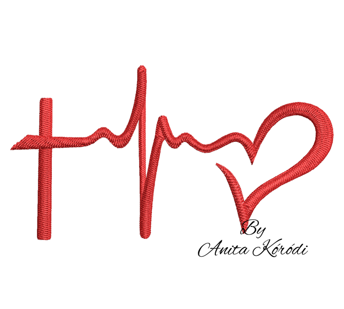 Faith hope love embroidery machine design heart