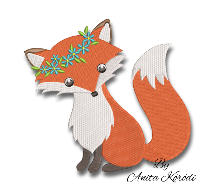 Fox embroidery machine design pe pattern pes instant digital
