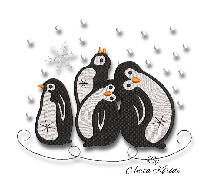 Penguins embroidery machine designs winter christmas instant digital download