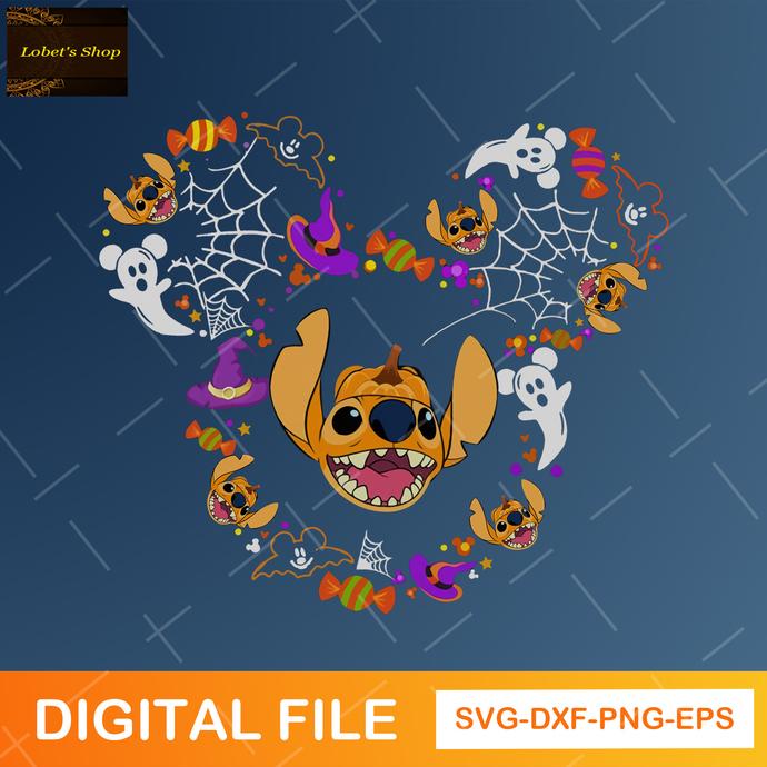 Stitch Mickey Head Svg ,Stitch Svg , Stitch Halloween Svg