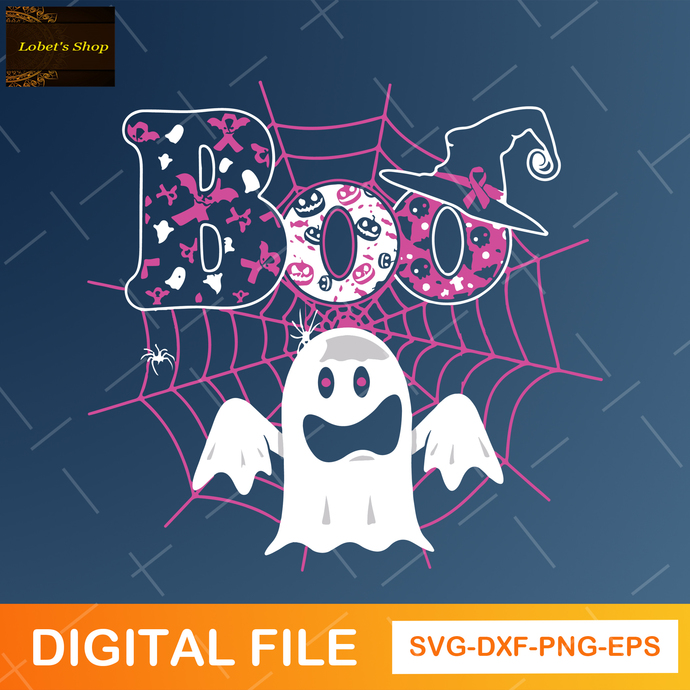 Boo Ghost SVG ,Boo Svg , Cancer Awareness SVG