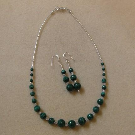 Handmade necklace and earrings - Graduated malachite, Swarovski crystals and