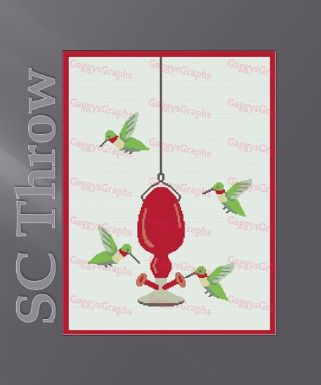 Dinnertime Hummingbirds -- SC Throw -- Graph + written line by line color coded