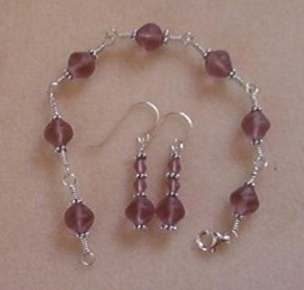 Sterling silver bracelet + earrings, purple glass beads, wire wrapped