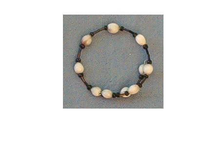 White Jobs Tears Bracelet with black bugle beads and seed beads