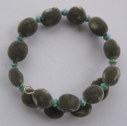 Bracelet: Hawaiian mgambo seed and turquoise 2AB Swarovski crystals
