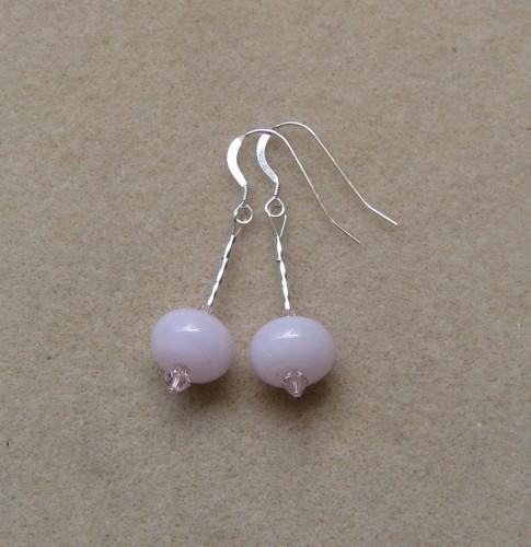 Handmade pink SRA lampwork sterling silver dangle earrings