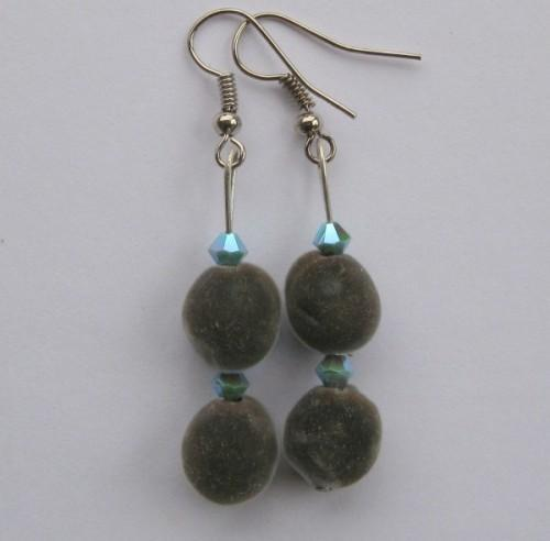Earrings: mgambo seed and turquoise 2AB Swarovski crystals