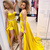 Beautiful A Line Spaghetti Straps Yellow Long Prom/Evening Dress Split Front