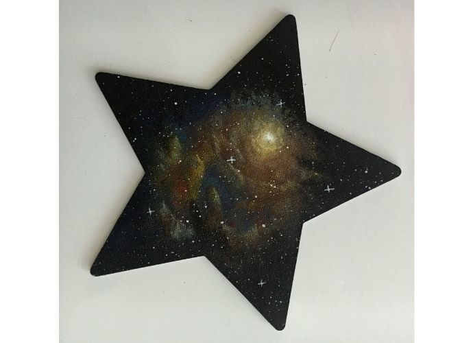 Acrylic nebula on a star-shaped magnet original hand-painted one-of-a-kind